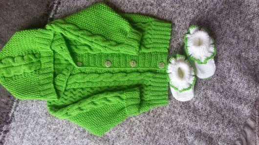 Пиджаки, жакеты ручной работы. Ярмарка Мастеров - ручная работа. Купить Жакетик. Handmade. Ярко-зелёный, нежный, девочкам, пинетки
