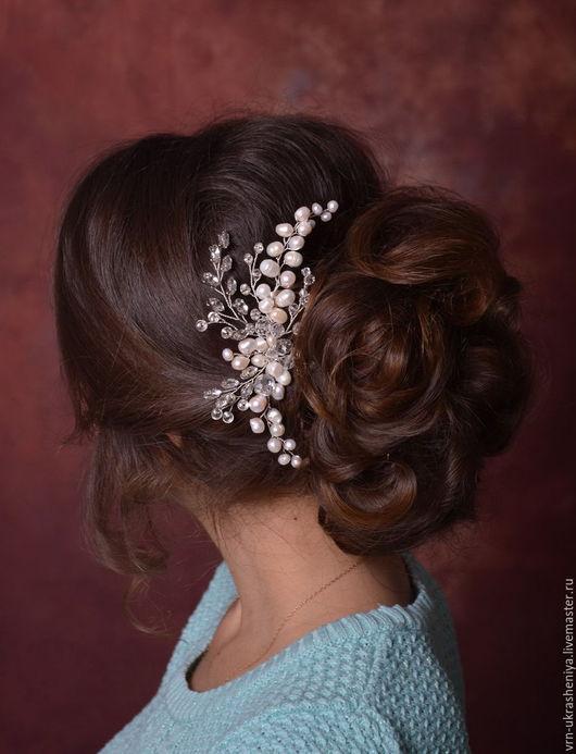 Свадебные украшения ручной работы. Ярмарка Мастеров - ручная работа. Купить Гребень с натуральным жемчугом и стразами для свадебной прически. Handmade.