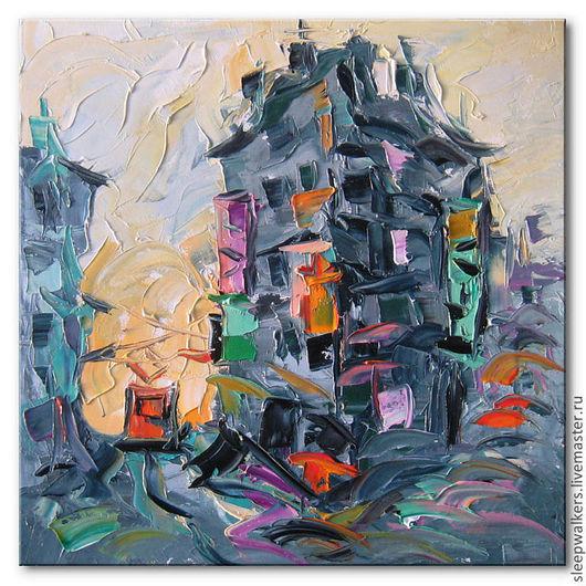 """Город ручной работы. Ярмарка Мастеров - ручная работа. Купить """"Оранжевый трамвай"""" 40х40см городской пейзаж картина маслом мастихином. Handmade."""