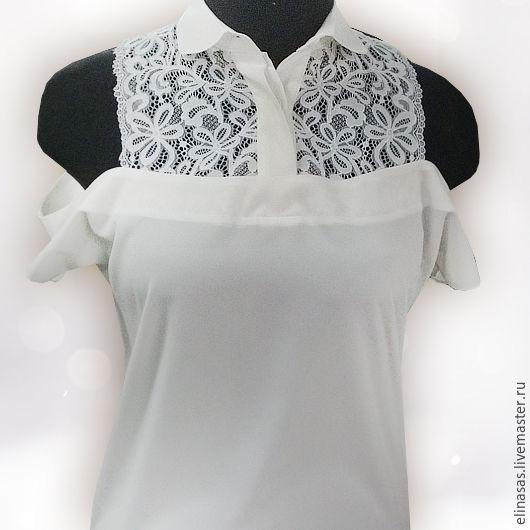 Блузки ручной работы. Ярмарка Мастеров - ручная работа. Купить Блузка оригинальная с кружевом. Handmade. Белый, стильный