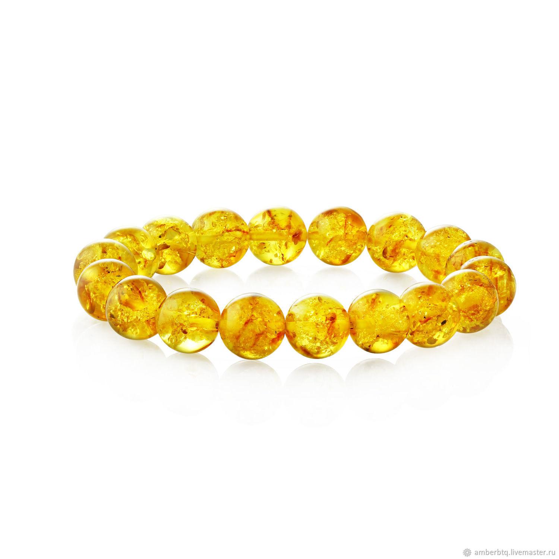 Amber bracelet 18 cm lemon husk (10 mm) with elastic band, Bead bracelet, Kaliningrad,  Фото №1