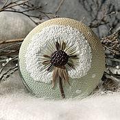 Украшения handmade. Livemaster - original item Large round pendant with dandelion polymer clay. Handmade.