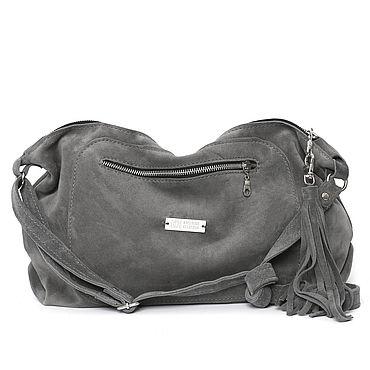 Bags and accessories handmade. Livemaster - original item Grey suede Bag with shoulder strap - Crossbody. Handmade.