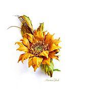 Цветы и флористика handmade. Livemaster - original item Sunflower from the skin -