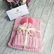 Аксессуары handmade. Livemaster - original item Knitted set of beanie and scarf. Handmade.