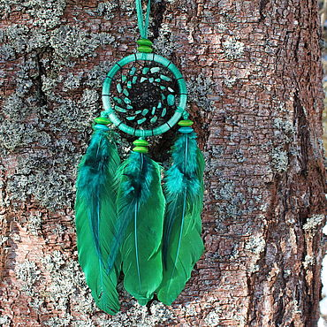 Feng Shui handmade. Livemaster - original item Dream catcher with natural stone (amazonite) and feathers goose. Handmade.