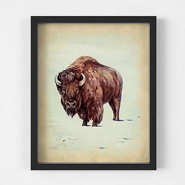 Картины и панно ручной работы. Ярмарка Мастеров - ручная работа Красивый винтажный плакат с бизоном для украшения интерьера. Handmade.