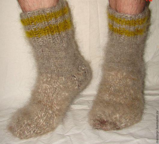 Носки   пуховые  вязанные арт. №56м из собачьей шерсти . Носки связаны из 2-х ссученных ниток . Очень толстые и очень теплые .  Ручное прядение. Ручное вязание.