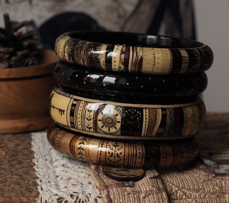 браслеты роспись по дереву Ключи от осени(черный)