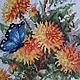 """Картины цветов ручной работы. Вышитая картина"""" Одуванчики"""". Ирина. Интернет-магазин Ярмарка Мастеров. Вышивка крестом, бабочка, канва"""