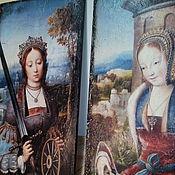 Картины и панно ручной работы. Ярмарка Мастеров - ручная работа Панно очень крупное парное деревянное Святые Екатерина и Варвара. Handmade.