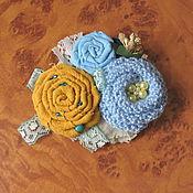 Украшения ручной работы. Ярмарка Мастеров - ручная работа Брошь текстильная с вязаным цветком. Handmade.