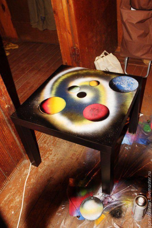 Мебель ручной работы. Ярмарка Мастеров - ручная работа. Купить Уникальная техника Spray Paint Art (аэрография) Столик журнальный. Handmade.