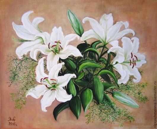 `Букет белых лилий`, авторская работа в единственном экземпляре, масло, холст, 50х60