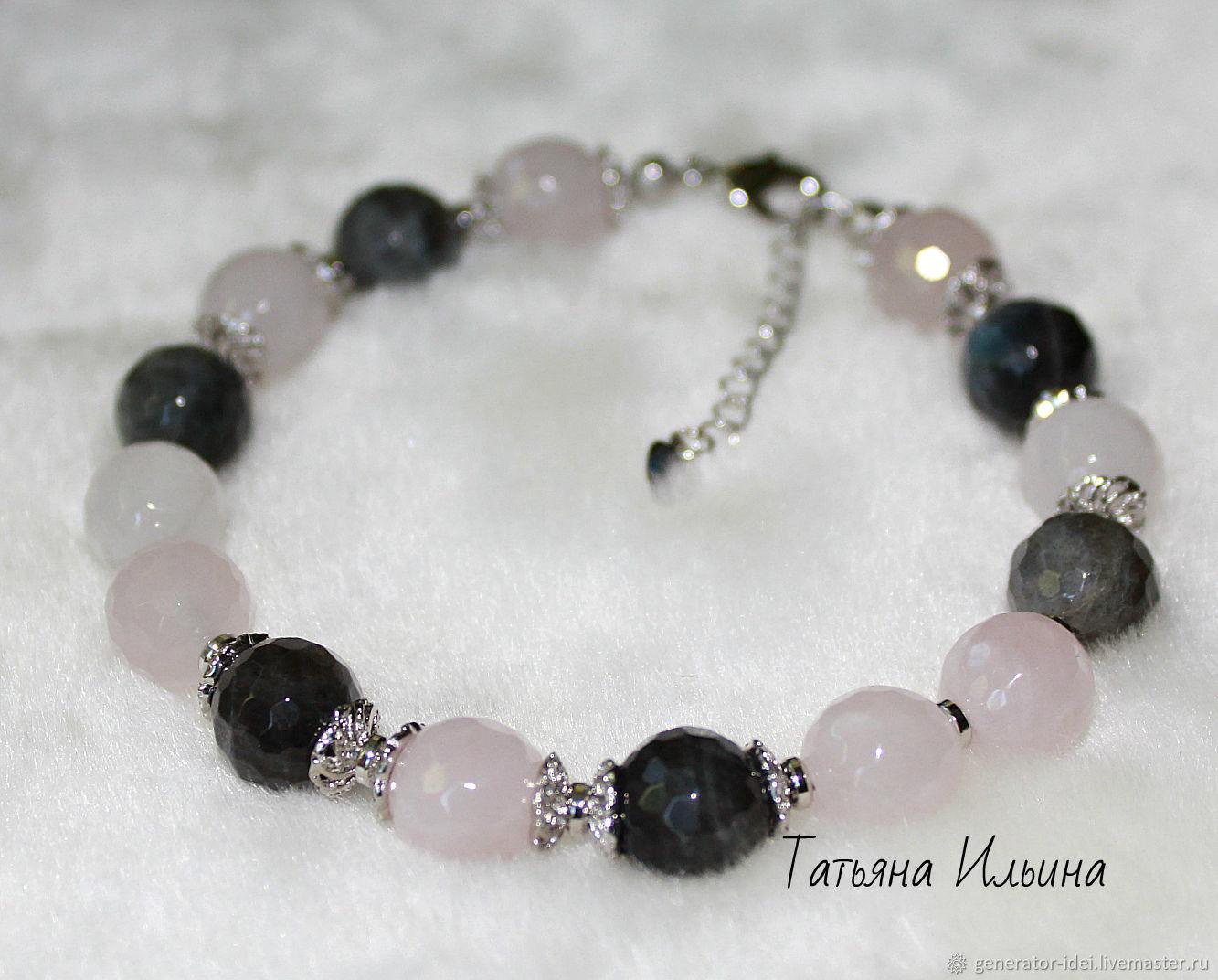 Bracelet from Labrador and Rose quartz, Bead bracelet, Moscow,  Фото №1