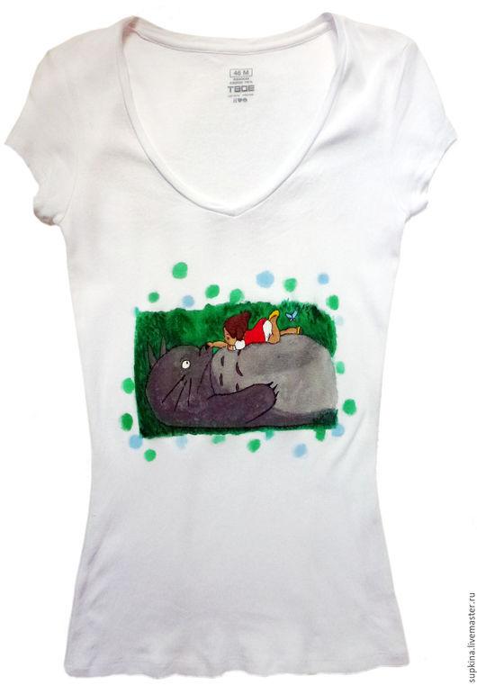 футболка  с рисунком, футболка на заказ, футболка с росписью, футболка с изображением, футболка для девушки, футболка для девочки, футболка детская, женская футболка, тоторо, хаяо миядзаки, аниме