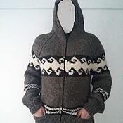 Одежда handmade. Livemaster - original item Zip-up hooded sweater.Sheep wool 100%. Handmade.