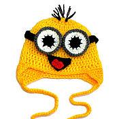 Работы для детей, ручной работы. Ярмарка Мастеров - ручная работа Шапочка миньон (детская шапка, шапочка детская, зимняя шапочка) желтая. Handmade.