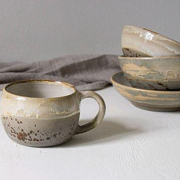 Посуда ручной работы. Ярмарка Мастеров - ручная работа Набор из двух пиал, кружки и тарелки. Handmade.