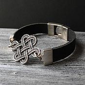 Украшения handmade. Livemaster - original item Life Knot Leather Bracelet 925 Sterling Silver. Handmade.