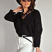 Украшения handmade. Livemaster - original item Set: porcelain chain, linen harness, brooch. Handmade.