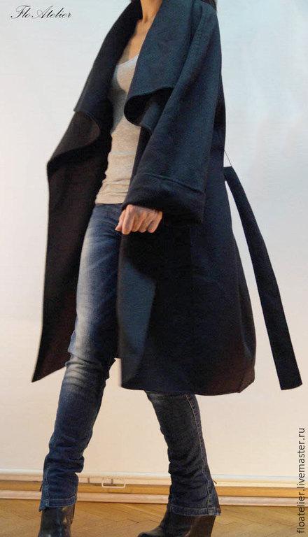 Верхняя одежда ручной работы. Ярмарка Мастеров - ручная работа. Купить Элегантное повседневное Пальто/F1228. Handmade. Темно-серый, топ