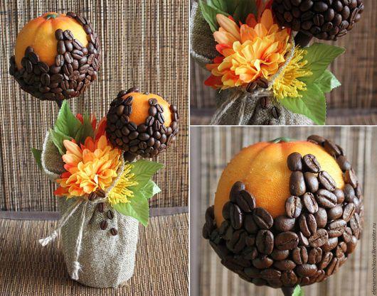 """Топиарии ручной работы. Ярмарка Мастеров - ручная работа. Купить Кофейный топиарий """"Цитрусовый кофе"""". Handmade. Оранжевый, оранжевые цветы"""