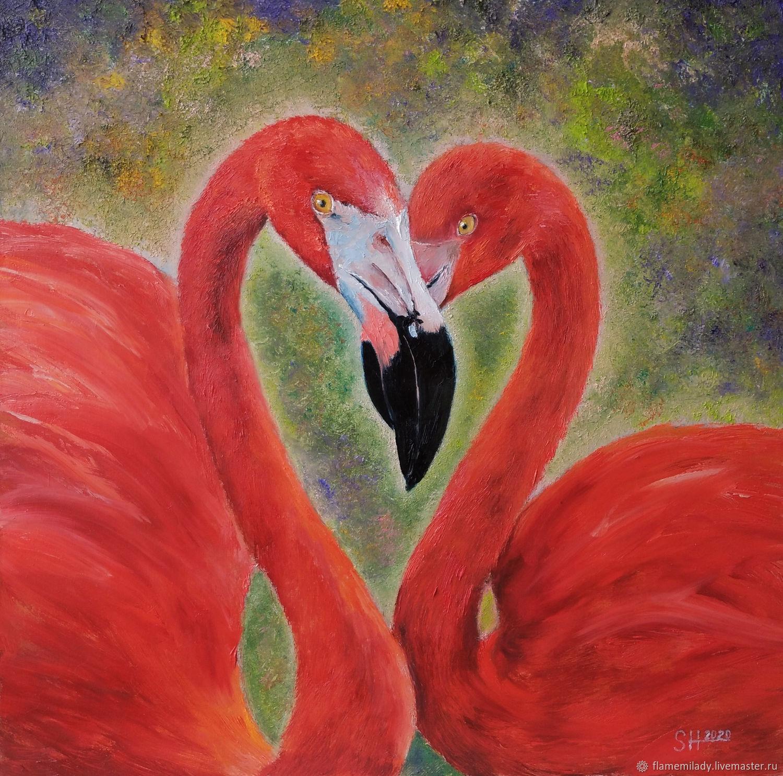 Author's oil painting ' Pink flamingos', Pictures, Ekaterinburg,  Фото №1