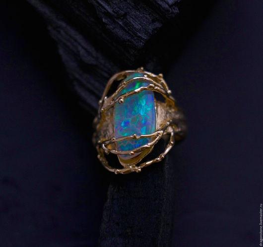 """Кольца ручной работы. Ярмарка Мастеров - ручная работа. Купить Кольцо """"Universum"""" с опалом. Handmade. Ярко-зелёный, опал эфиопский"""