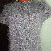 Одежда ручной работы. Ярмарка Мастеров - ручная работа жилет-туника пуховый с косой. Handmade.