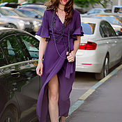 Одежда handmade. Livemaster - original item silk wrap dress in bohemian style