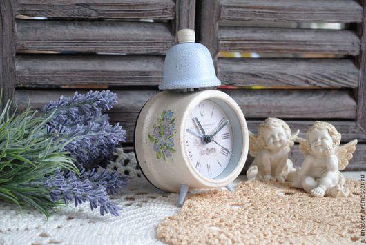 """Часы для дома ручной работы. Ярмарка Мастеров - ручная работа. Купить Часы будильник """"Незабудка"""". Handmade. Часы, кремовый, голубой"""