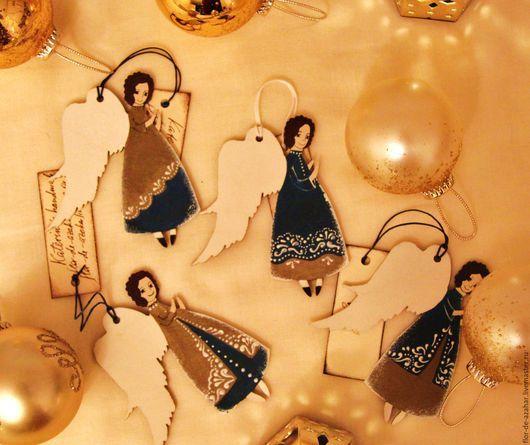 Новый год 2017 ручной работы. Ярмарка Мастеров - ручная работа. Купить Ангелы - Золотая коллекция - 1. Handmade. Ангел, рождество