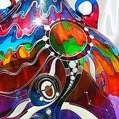 Посуда ручной работы. Ярмарка Мастеров - ручная работа Бутылка гутная (свободное выдувание) Север, витражная роспись. Handmade.
