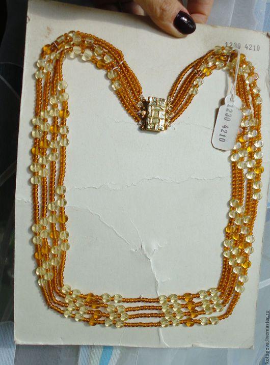 Винтажные украшения. Ярмарка Мастеров - ручная работа. Купить Ожерелье 4-рядное 65см на фабричной карте. Яблонец 1950-е. Handmade.