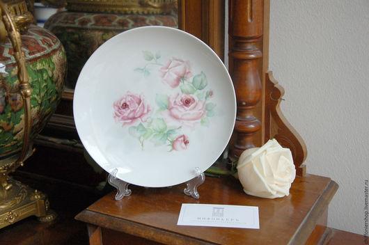 Винтажная посуда. Ярмарка Мастеров - ручная работа. Купить Декоративная винтажная тарелка Розы. Handmade. Комбинированный, винтаж, ручная роспись