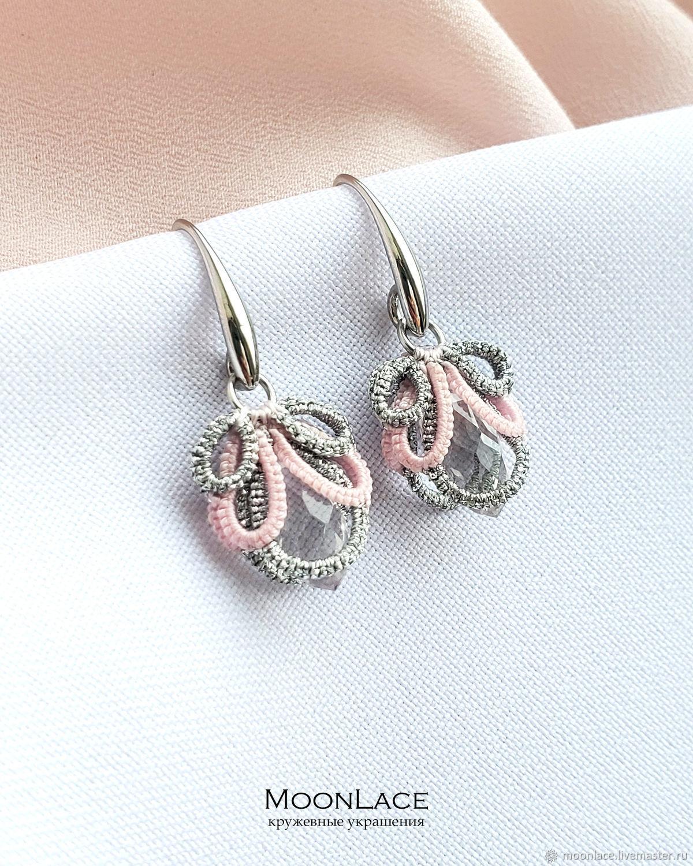 Lace earrings frivolite 'Amelia' silver-pink, Earrings, Krasnogorsk,  Фото №1
