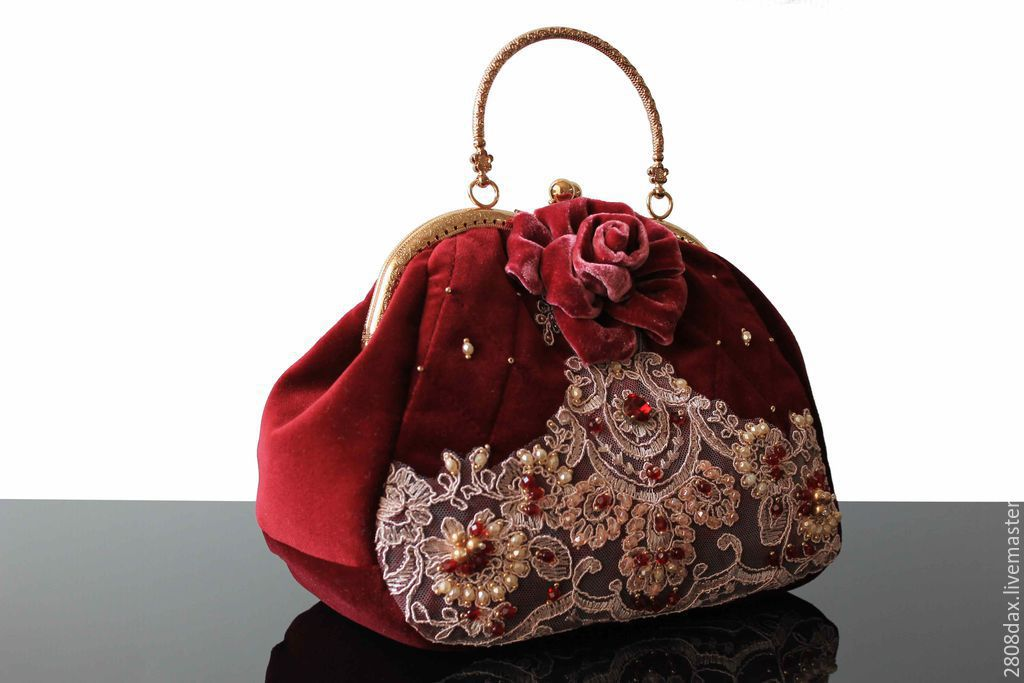 Velvet bag, embroidery, brooch, Classic Bag, Bordeaux,  Фото №1