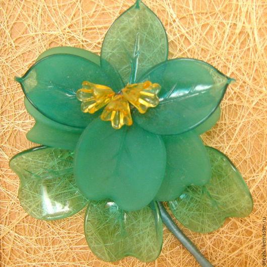Картины цветов ручной работы. Ярмарка Мастеров - ручная работа. Купить Зелёный цветок, картина. Handmade. Зеленый, муранское стекло
