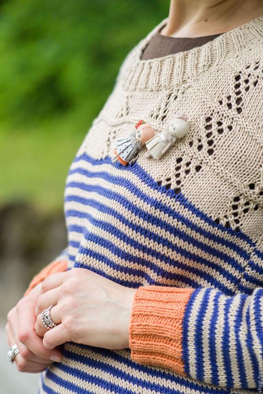 """Кофты и свитера ручной работы. Ярмарка Мастеров - ручная работа. Купить Вязаный, хлопковый свитер """"Морское путешествие"""". Handmade. Комбинированный"""