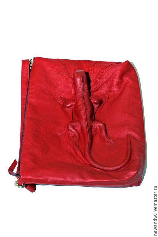 """Женские сумки ручной работы. Ярмарка Мастеров - ручная работа. Купить 3D Сумка """"Красная ящерица"""" из натуральной кожи. Handmade."""