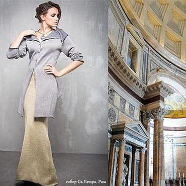 Одежда ручной работы. Ярмарка Мастеров - ручная работа ГА_017 Жакет длинный, цвет серо-серебро. Handmade.