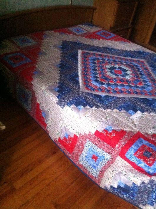 """Текстиль, ковры ручной работы. Ярмарка Мастеров - ручная работа. Купить Лоскутный плед """"Коробейники"""". Handmade. Тёмно-синий"""