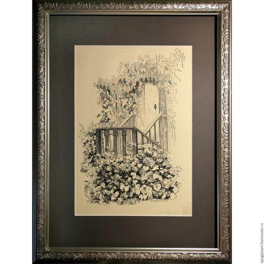 """Пейзаж ручной работы. Ярмарка Мастеров - ручная работа. Купить Картина """" Осеннее крыльцо"""". Handmade. Картина, Картины и панно"""