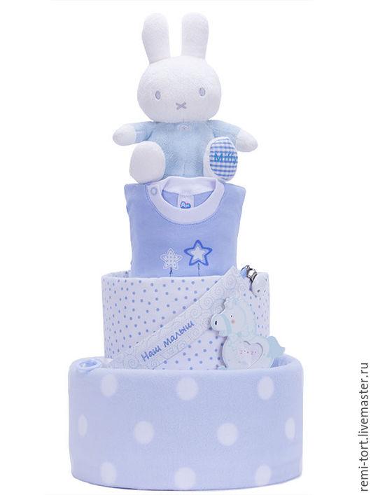 """Подарки для новорожденных, ручной работы. Ярмарка Мастеров - ручная работа. Купить Памперс торт """"МИФФИ"""". Handmade. Голубой, памперс торт"""