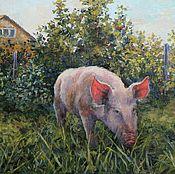 Картины и панно handmade. Livemaster - original item Piglet on a walk. Oil on canvas. 45h50 cm2017 g.. Handmade.