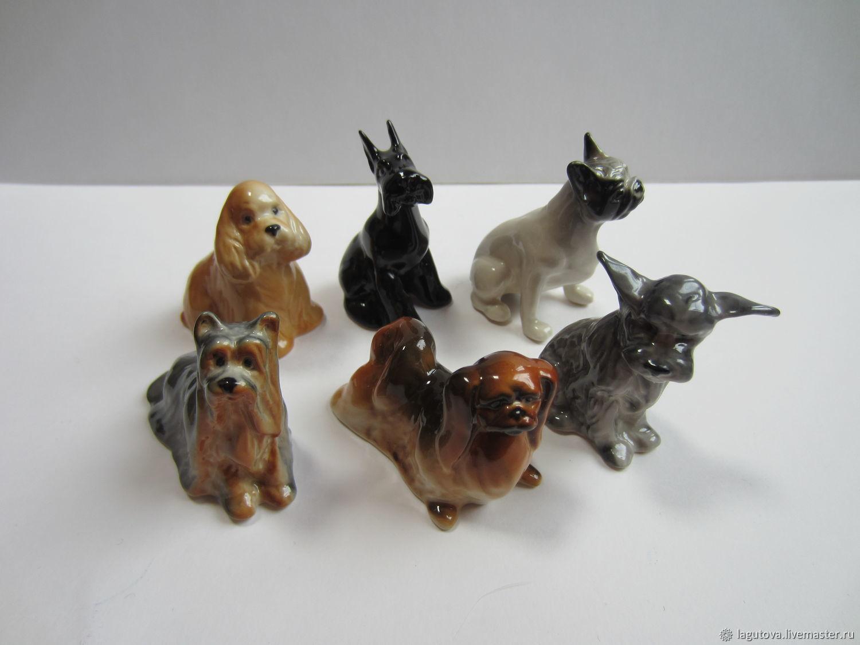 Винтаж: Статуэтки собачек - 3 штуки миниатюра фарфор размер 5-6 см, Предметы интерьера винтажные, Конаково,  Фото №1