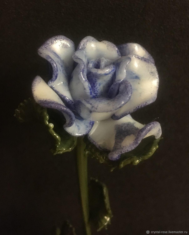 Бело-голубая роза из стекла, Статуэтка, Москва,  Фото №1