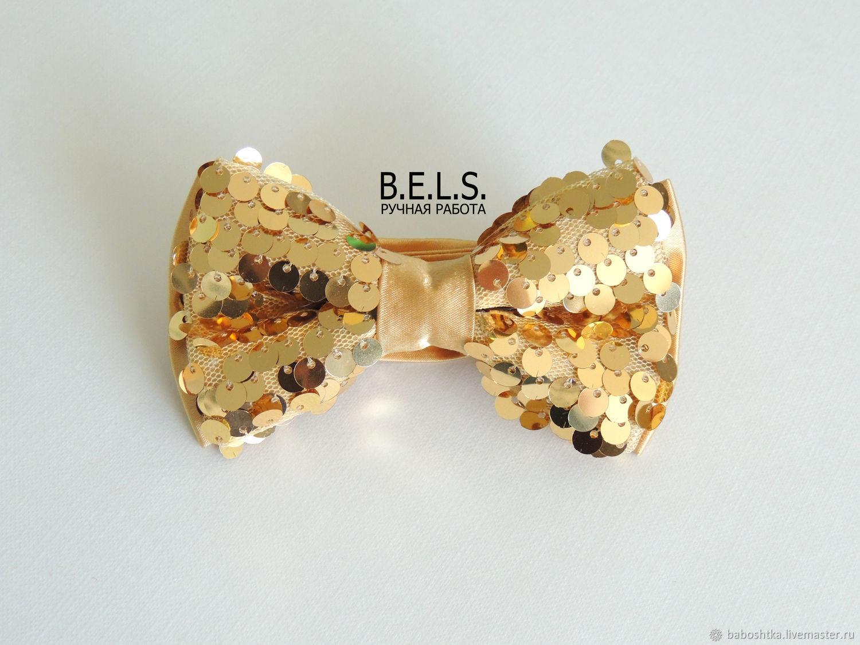 Бабочка галстук золотая с пайетками, Бабочки, Оренбург,  Фото №1
