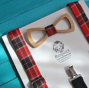 Аксессуары handmade. Livemaster - original item Wooden butterfly tie red suspenders in tartan. Handmade.